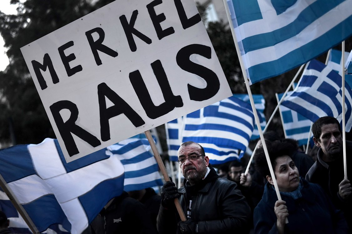 Some of about 1,000 members of the ultra-nationalist Golden Dawn party demonstrate on March 22, 2013 outside the German Embassy in Athens against the EU austerity plans for Cyprus