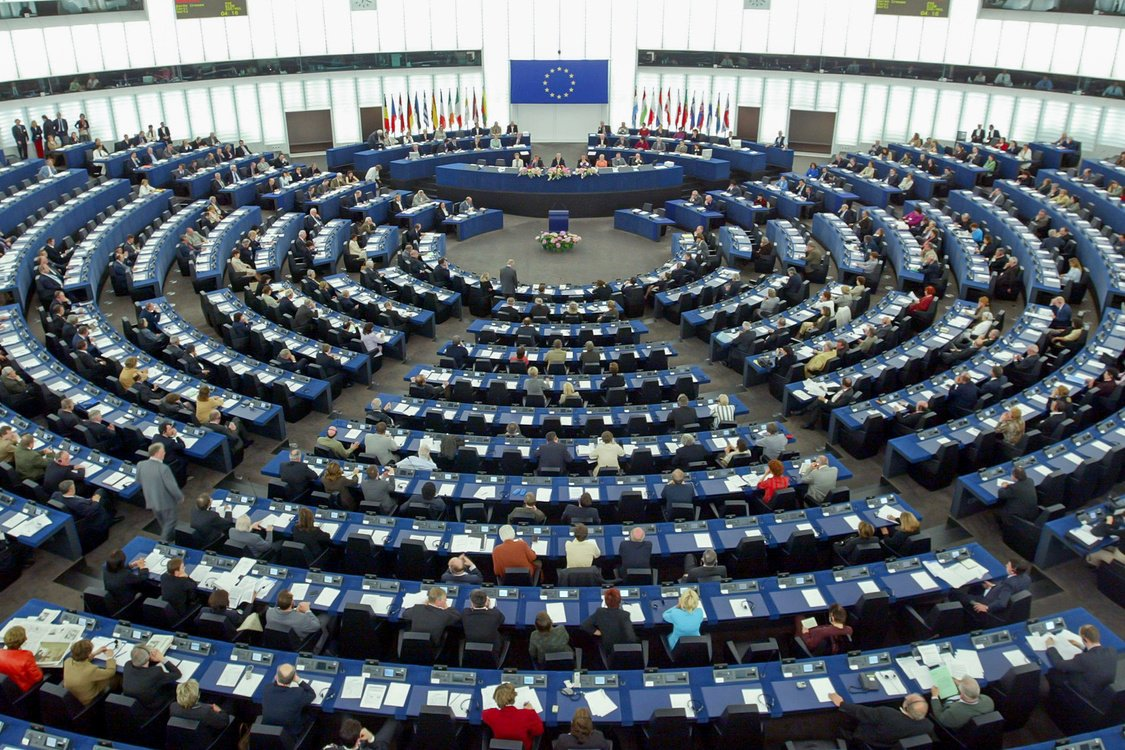 General view of the European Parliament in Strasbourg May 3, 2004 during the first session of the parliament with the representatives of the 10 new European Union member states countries.