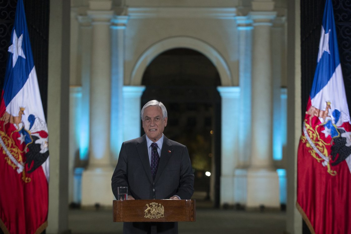 Chilean President Sebastian Pinera addresses the nation in Santiago