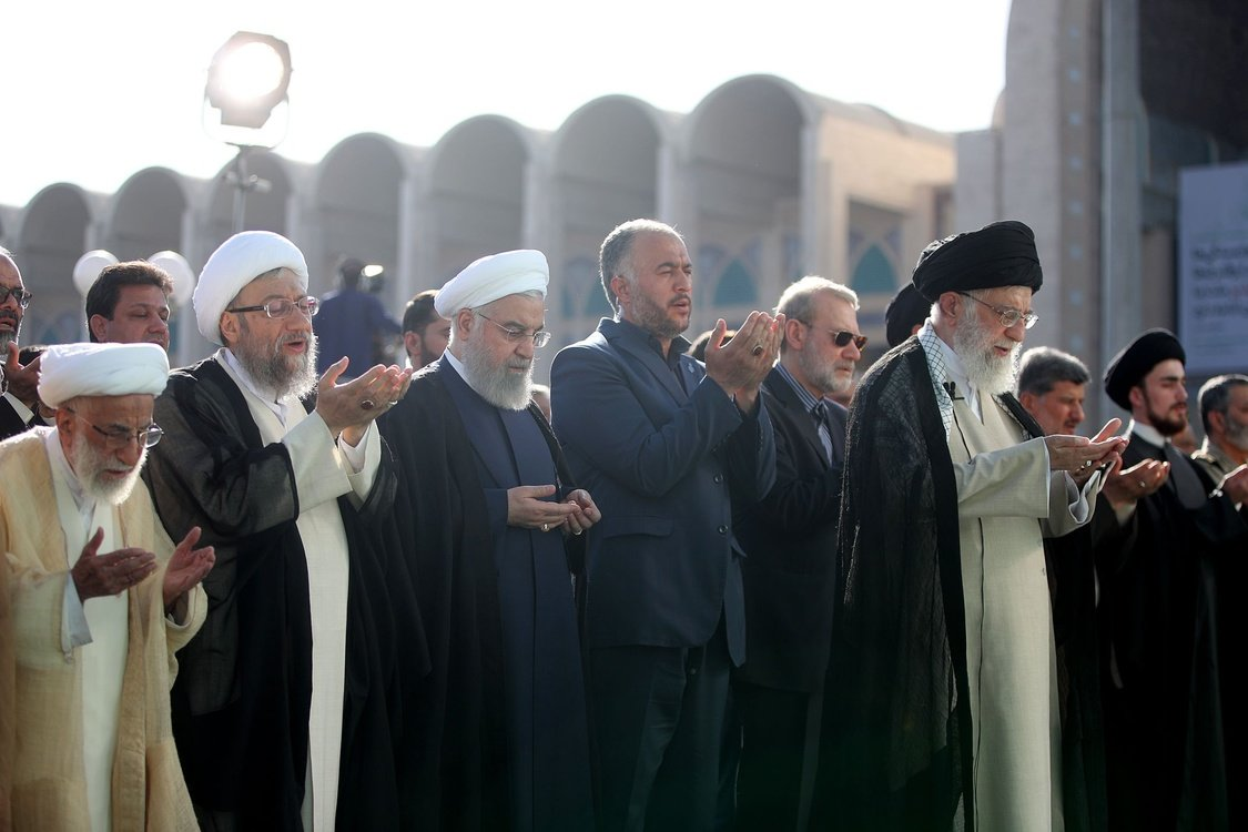 Supreme Leader of Iran, Ali Khamenei leads the Eid al-Fitr Prayer at Grand Prayer Grounds in Tehran.
