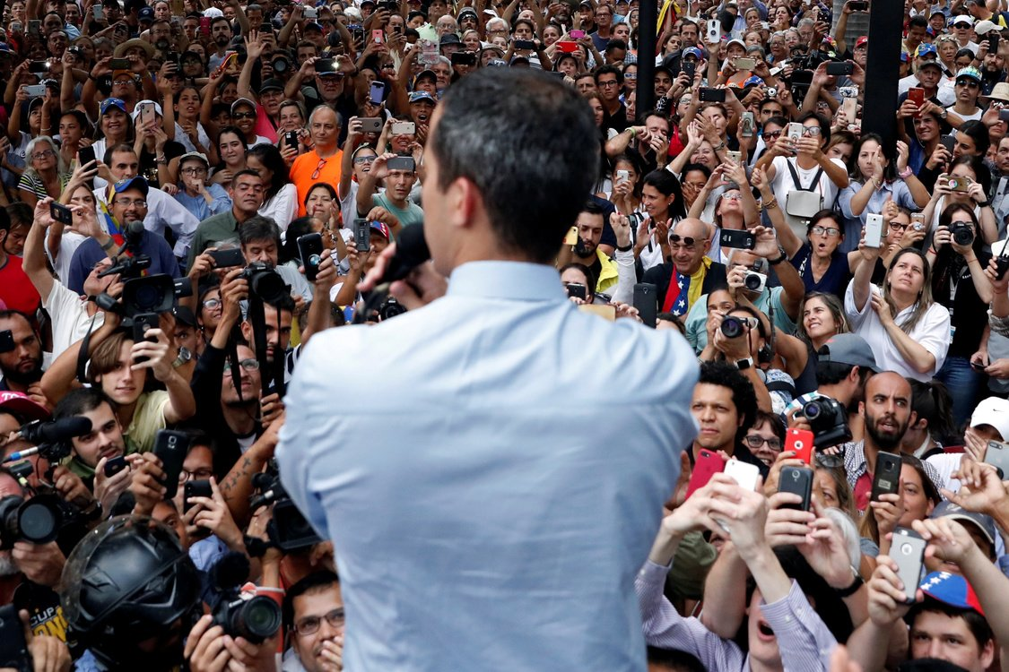 Venezuelan opposition leader Juan Guaido takes part in a protest against President Nicolas Maduro's government