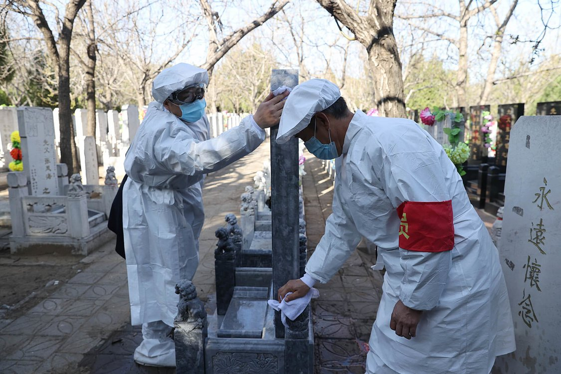 Many people choose the agency tomb-sweeping service because of the outbreak of novel coronavirus on 20th April, 2020 in Beijing,China.