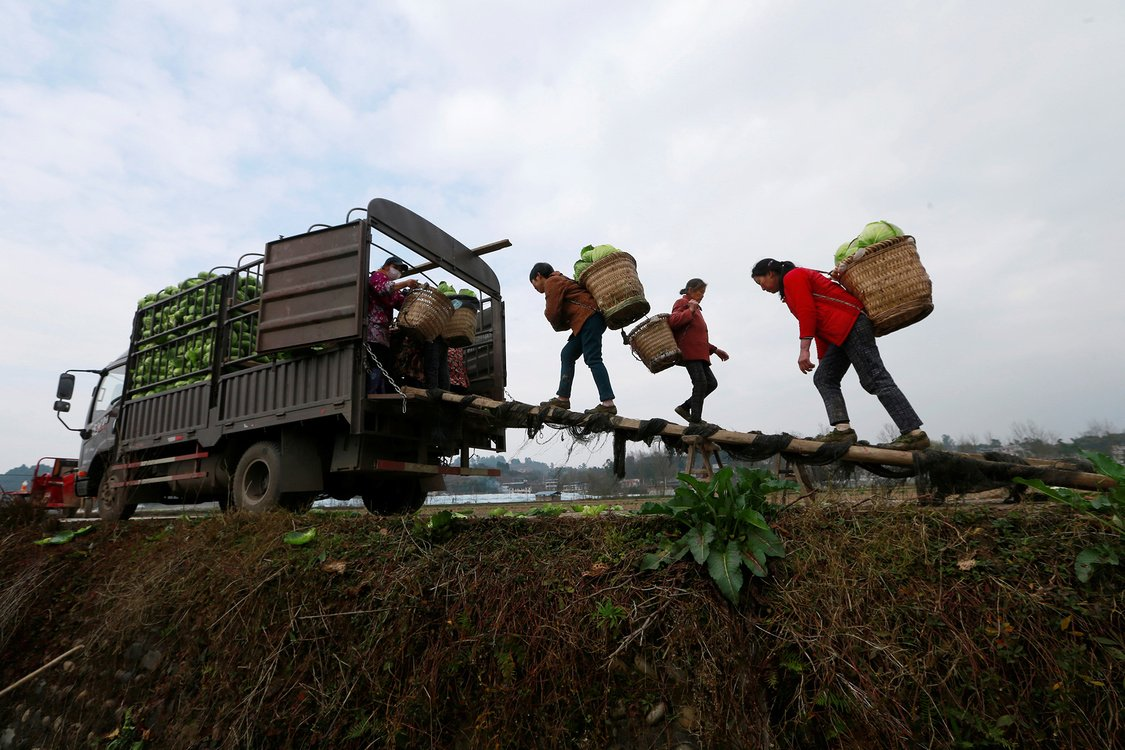 Farmers in Suining, China load a truck with vegetables to be sent to Wuhan, then the epicenter of the coronavirus outbreak