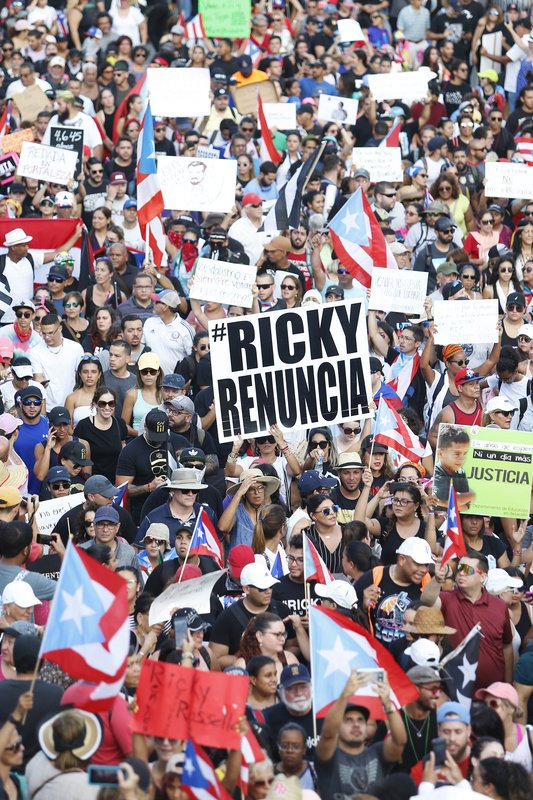 Thousands of demonstrators protest against Ricardo Rossello, the Governor of Puerto Rico